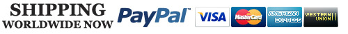 Shipping International, We Accept Paypal, Credit Cards and Western Union!